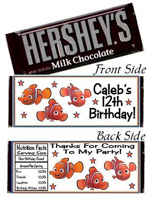 12 Finding Nemo Birthday Party OR Baby Shower Candy Hershey Bar Wrappers](Finding Nemo Baby Shower)