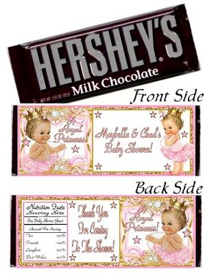 12 Royal Princess Birthday Party Baby Shower Hershey Candy Bar Wrapper Pink Gold - Royal Princess Birthday Party