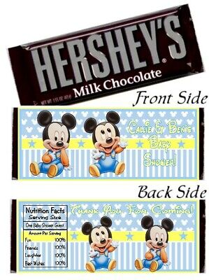 Baby Mickey Birthday (12 Baby Mickey Mouse Baby Shower OR Birthday Party Hershey Candy Bar Wrappers)