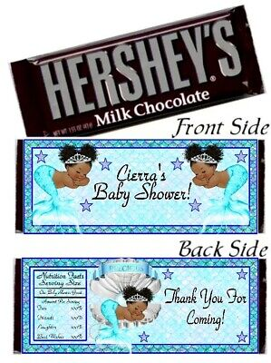12 Ethnic Mermaid Princess Baby Shower Hershey Candy Bar Wrappers Blue Silver