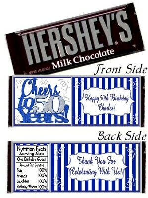 12 50th Birthday Party Happy Anniversary Hershey Candy Bar Wrappers Blue Silver 50th Anniversary Candy Wrappers