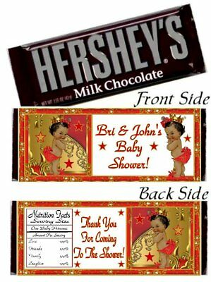 12 Royal Ethnic Princess Birthday Party Baby Shower Hershey Bar Wrapper Gold Red - Royal Princess Birthday Party
