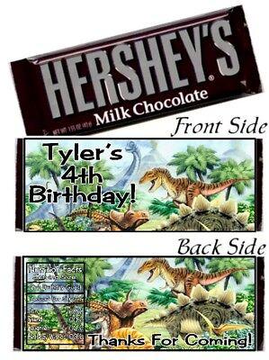 12 Dinosaurs Birthday Party Baby Shower Hershey Candy Bar Wrappers Favors - Baby Shower Candy Bar Wrappers