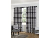 """Urban living Serenity silver striped readymade eyelet curtains 90"""" x 108"""" USED"""