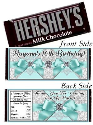 12 Tiffany Blue Ribbons Diamonds Birthday Party Baby Shower Hershey Bar Wrappers