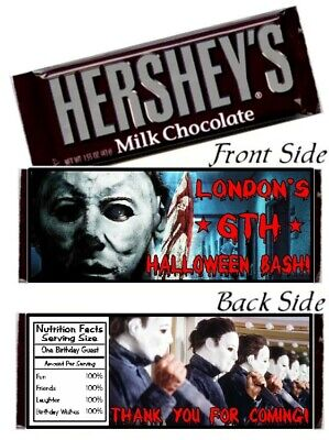 12 Halloween Party Hershey Candy Bar Wrapper Michael Myers Scary Horror Birthday
