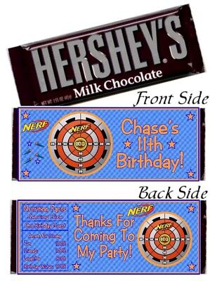 12 Nerf Gun Wars Target Birthday Party Baby Shower Hershey Candy Bar Wrappers