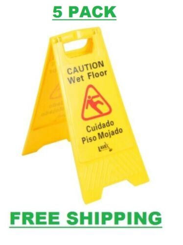 """5 PACK Restaurant Caution Wet Floor Yellow 25"""" Folding Sign Commercial Safety"""