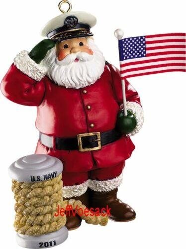 Navy Santa holding Flag   Carlton Cards Ornament #044Z