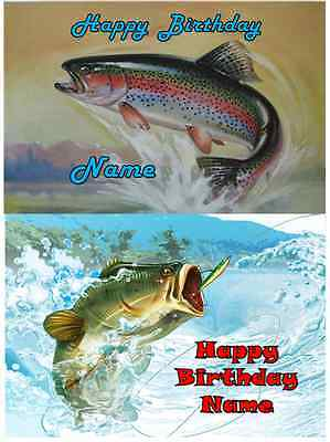Fish Cake Decorations (EDIBLE CAKE IMAGE  FISH BASS TROUT ICING SHEET PARTY TOPPER)