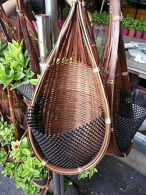 (Small Brown Bamboo Woven Basket Outdoor Hanging Plant Flower Orchid Decor)