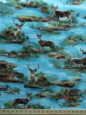 Cotton Deer Lake Fawn Woodland Animals Buck Doe Fabric Print by the Yard - Woodland Animal