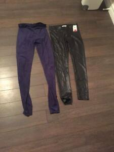 WINNERS NEW BLACK FAUX LEATHER AND NAVY FAUX SUEDE PANTS SMALL