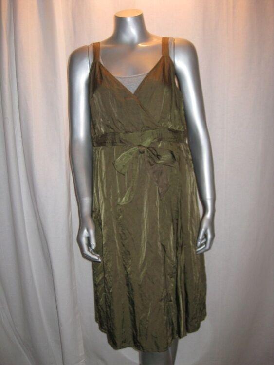 $318 EILEEN FISHER OLVNE Steel Satin V Neck Faux Wrap Tie Front Dress sz 12 NWT