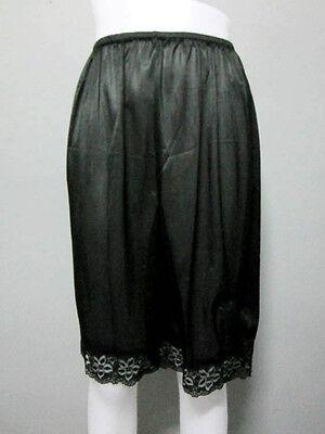 Vintage Silky Nylon Petticoat Women's Panties French Knickers Lingerie #L Black