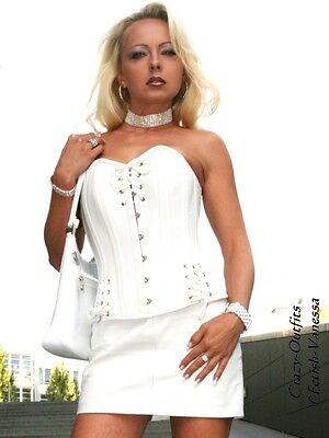 7184a009e89d09 Lederrock Leder Rock Weiß Mini Hüftrock Größe 32 - 58 XS - XXXL