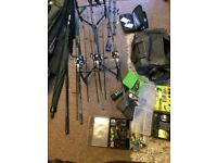 Complete Fishing kit with Fox Quattro Pod, shimano rods, big pit reels, accessories, etc..
