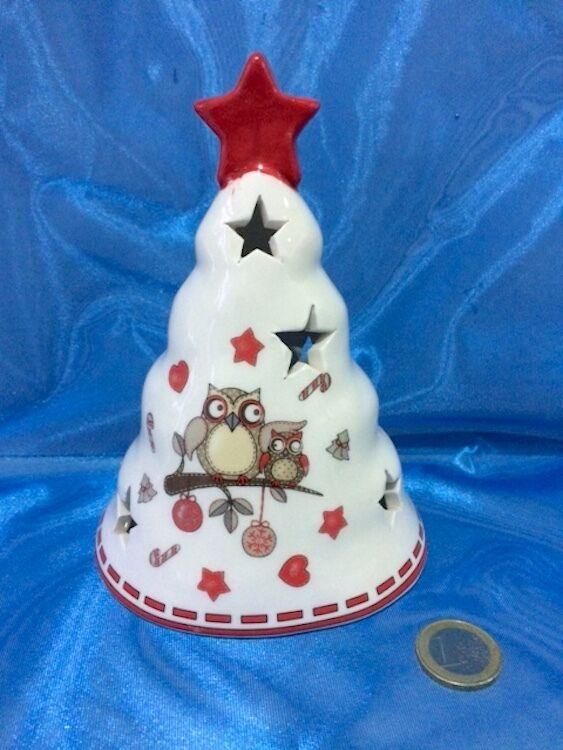 Porta candela tea light ALBERO DI NATALE in ceramica con GUFI Addobbo natalizio