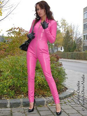 Leder Catsuit Ledercatsuit Anzug Overall Pink - Pink Catsuit