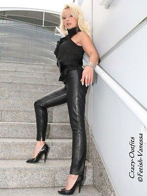 Lederhotpants Leder Hotpants Schwarz Knalleng Taschen Größe 32-58 XS XXXL