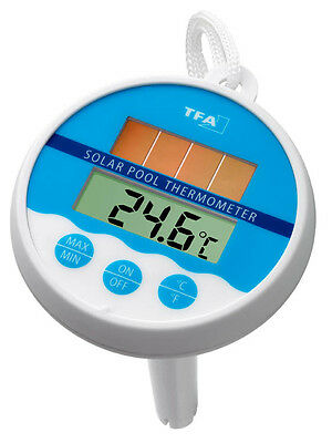 POOL-SCHWIMMBAD-TEICH-BAD-THERMOMETER TFA 30.1041 SOLAR TEMPERATURKONTROLLE