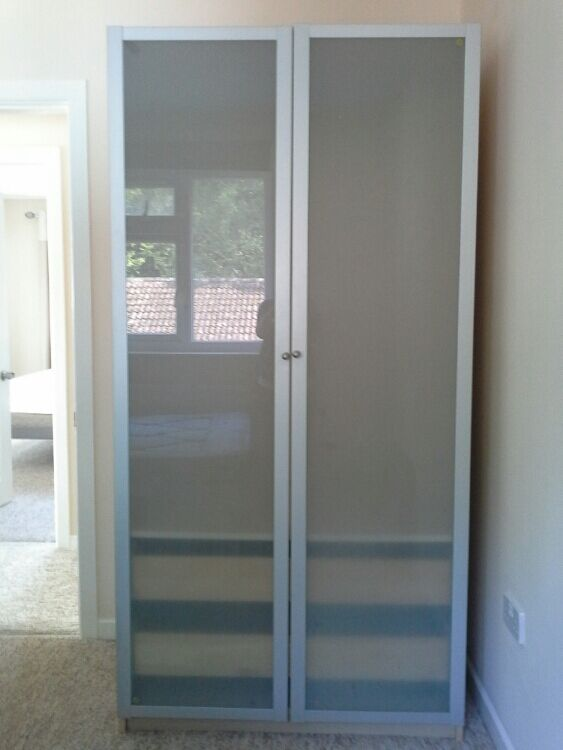 Ikea Pax Drammen Wardrobe Frosted Glass And Metallic
