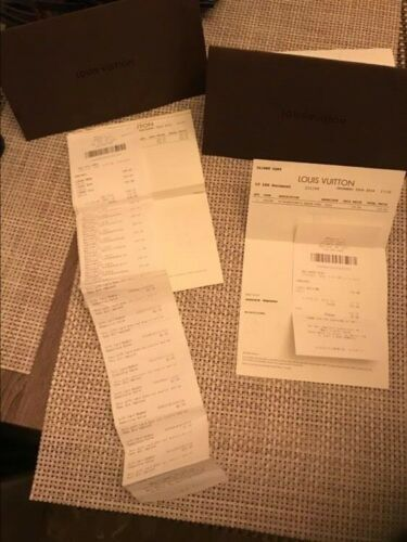 LOUIS VUITTON Authentic NYC Receipt with Holder Envelope - Brown (2 receipts)