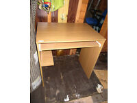 Small desk with pull-out panel, dark-brown beech effect