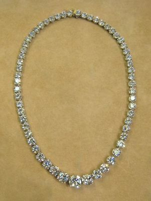 - 45Ct Round Cut VVS1/D Diamond Tennis Necklace Solid 14k Real White Gold Over