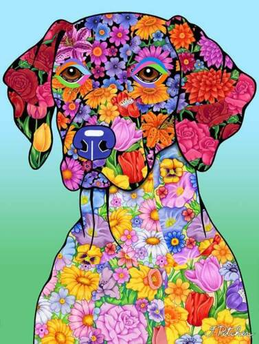 Flowers House Flag - German Shorthaired Pointer 96049