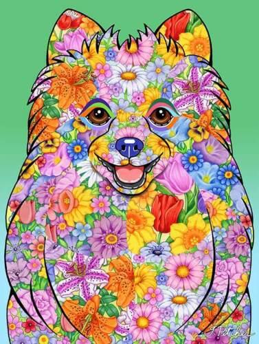 Flowers Garden Flag - Pomeranian 960131