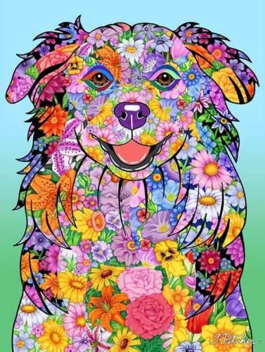 Flowers House Flag - Australian Shepherd 96059