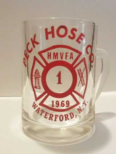 Vintage Peck Hose Co. 1969 Waterford, NY, Glass Beer Mug with Red Paint
