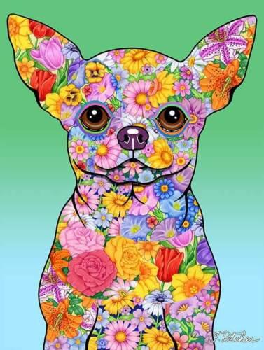 Flowers House Flag - Chihuahua 96046