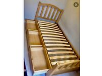 Wooden single bed with 3 drawers storage underneath