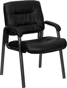 Black leather reception chair office waiting room with titanium frame