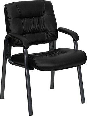 Lot Of 6 Black Leather Guest Reception Office Chairs