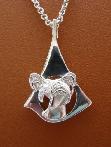Sterling Silver Chinese Crested Head Study On A Contemporary Free Form Frame Pen