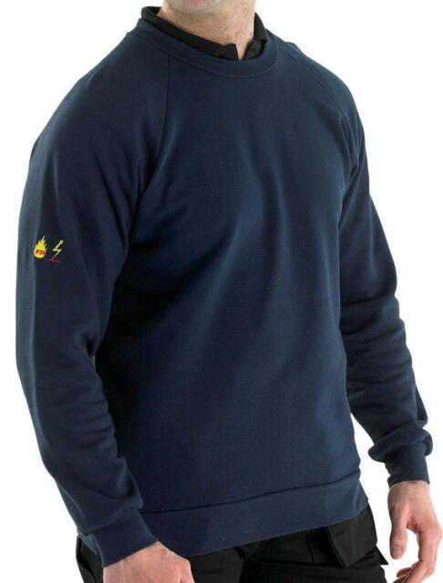 Flame retardant Long Sleeve Aweat Shirt Navy blue size small