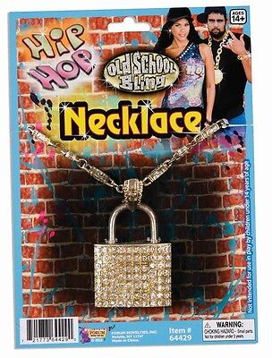 Padlock Necklace Hip Hop Gold Rap 80s Dress Up Halloween Adult Costume Accessory - 80 Hip Hop Clothes