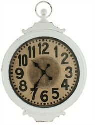 ANTIQUE CREAM IRON WALL CLOCK By SPLIT P/LARGE WALL CLOCK