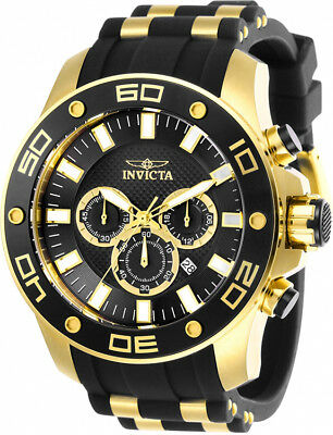 Invicta Men's Pro Diver Chrono 100m Gold-Tone S. Steel Silicone Watch 26086