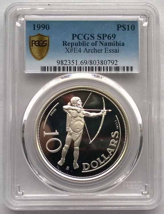 Namibia 1990 Native 10 Dollars Essai PCGS PR69 Silver Coin,Proof(0792)