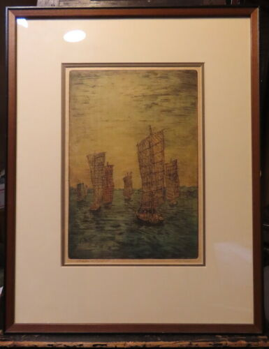 CHARLES W. BARTLETT,BOATS AT NANKING, RARE PROOF,HAND COLORED ETCHING WOOD BLOCK