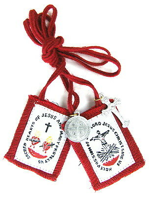 Scapular Five Fold Fivefold Red Blue Black White Brown 100% Wool Medals Catholic