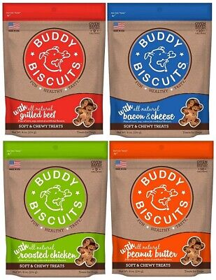 Buddy Biscuits Soft & Chewy Dog Treats Variety Pack - 4 Flavors 6 oz Cloud Star Flavored Chewy Dog Treats