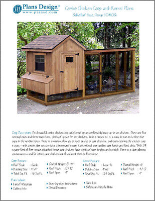 Gable Chicken Coop With Lean-to Kennel Combo Project Plans Design 50410gl