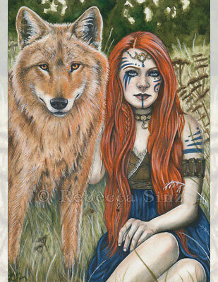 Fantasy Art MEDIUM SIZE PRINT Wolf Shaman Woman Red Hair Celtic Nature Animal