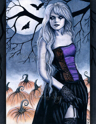 Halloween Gothic PRINT Art Pumpkins Bats Moon WC Night Witch Tree Fog Blue](Halloween Art Pumpkins)