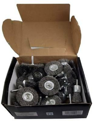 Wire Wheel Brush Cup 40pc Assortment Crimped Steel 14 Shank Drills Rust Scale